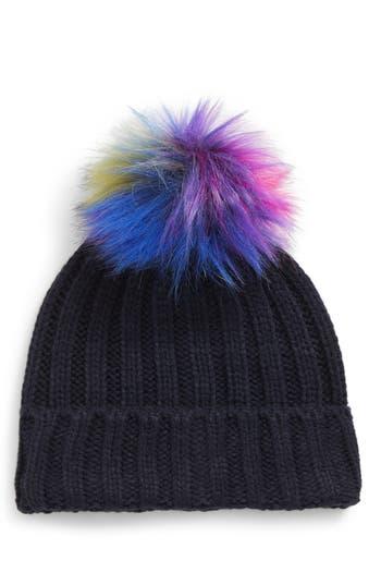 Women's Bp. Multicolored Faux Fur Pompom Beanie - Blue