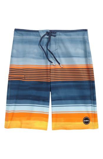 Boy's O'Neill Hyperfreak Heist Stretch Board Shorts, Size 29 - Blue/green