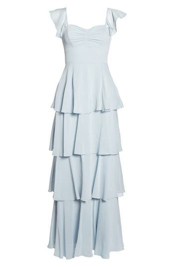 1930s Evening Dresses | Old Hollywood Dress Womens Wayf Abby Off The Shoulder Tiered Dress Size XX-Large - Blue $172.00 AT vintagedancer.com