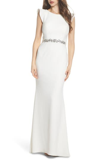 Vintage Inspired Wedding Dress | Vintage Style Wedding Dresses Womens Adrianna Papell Ruffle Back Belted Gown $219.00 AT vintagedancer.com