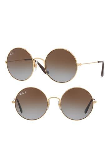 Ray-Ban Ja-Jo 50Mm Round Polarized Sunglasses - Gold/ Brown