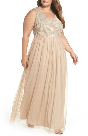 Plus Size Adrianna Papell Beaded & Tulle Gown, Ivory
