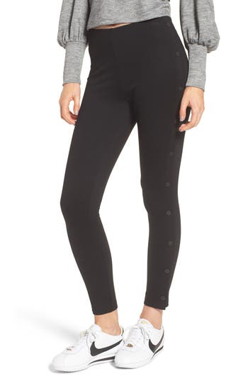 Lysse Snap Track Leggings, Black