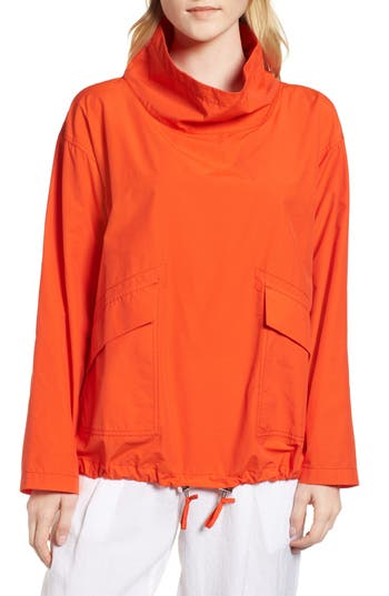 Eileen Fisher Organic Cotton/nylon Pullover Jacket In Hot Red