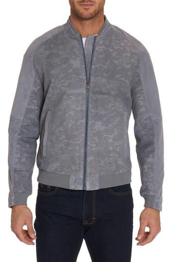 Robert Graham Ricardo Tailored Fit Suede Bomber Jacket, Grey