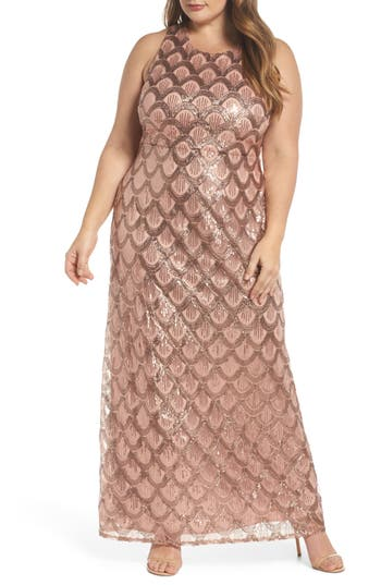 1920s Plus Size Dresses, Gatsby Dresses, Flapper Costumes Plus Size Womens Morgan  Co. Sequin Cross Back Gown $172.00 AT vintagedancer.com
