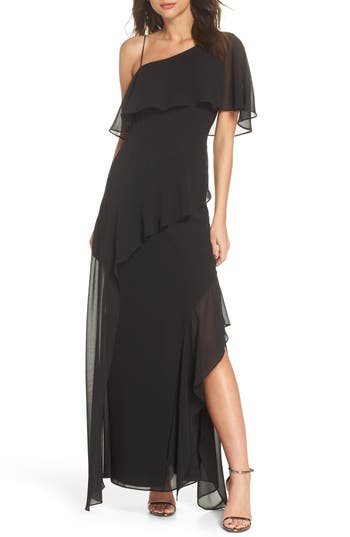 Keepsake The Label No Love One-Shoulder Gown, Black