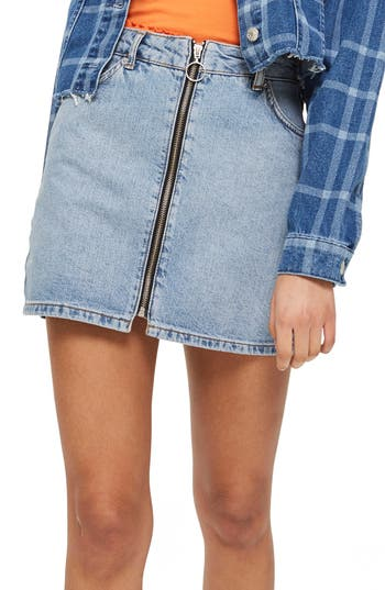 Topshop Zip Through Denim Skirt, US (fits like 0) - Blue