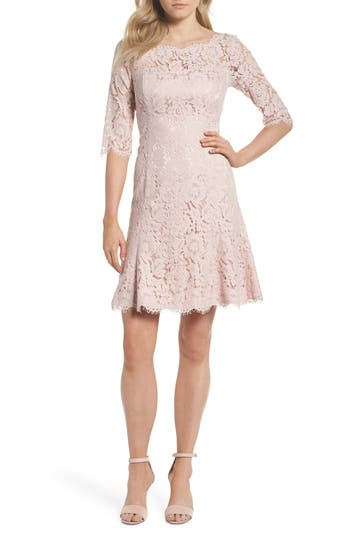 Eliza J Lace Fit & Flare Dress, Pink