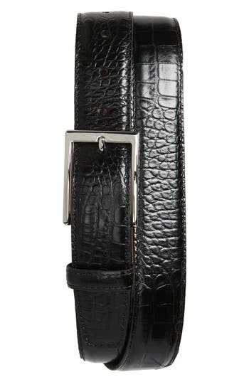 Big & Tall Torino Belts Gator Grain Embossed Leather Belt, Black