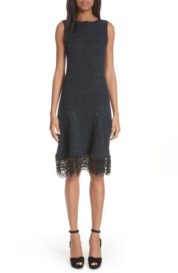 Oscar De La Renta Lace Trim Tweed Knit Dress, Black