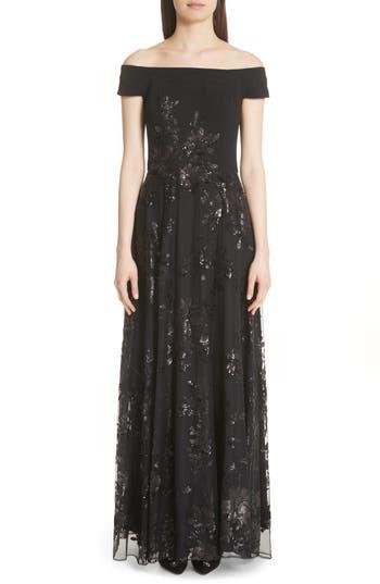 Carmen Marc Valvo Off The Shoulder Gown, Black
