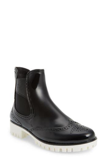 Dav Leeds Brogue Rain Boot, Black