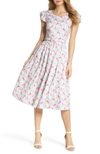 1940s Style Dresses | 40s Dress, Swing Dress Womens Gal Meets Glam Collection Packed Bouquet Print Cotton Dress Size 0 - Pink $148.00 AT vintagedancer.com
