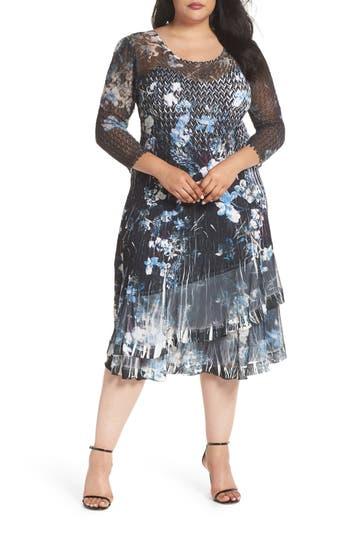 Plus Size Komarov Floral Georgette & Chiffon A-Line Dress, Black