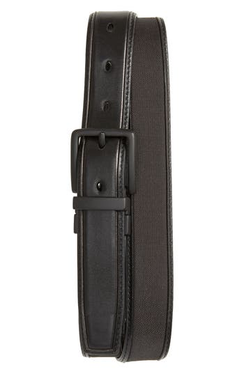 Cole Haan Reversible Nylon Inlay Leather Belt, Black