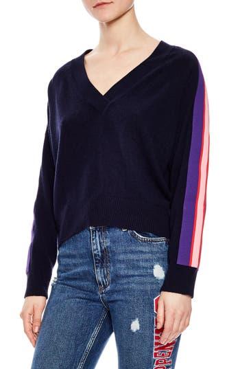 Sandro Side Stripe Wool & Cashmere Sweater, Blue