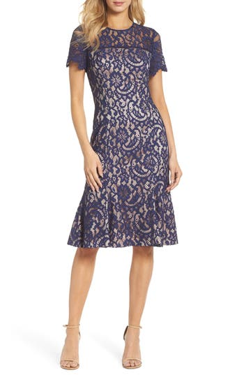 Eliza J Lace Midi Dress, Blue