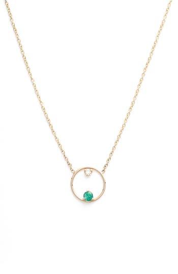 Zoe Chicco Emerald And Diamond Open Circle Necklace