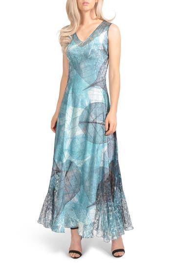 Komarov Lace-Up Back Maxi Dress, Blue