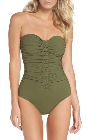 Profile By Gottex Lace-Up Strapless One-Piece Swimsuit