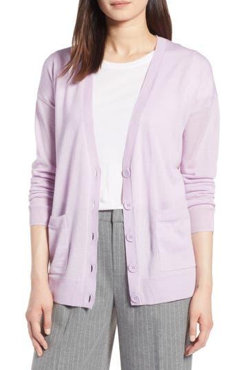 Halogen V-Neck Merino Wool Cardigan, Purple