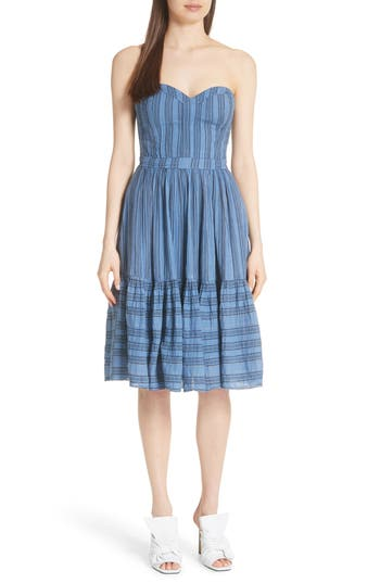 La Vie Rebecca Taylor Gauzy Metallic Stripe Strapless Dress, Blue