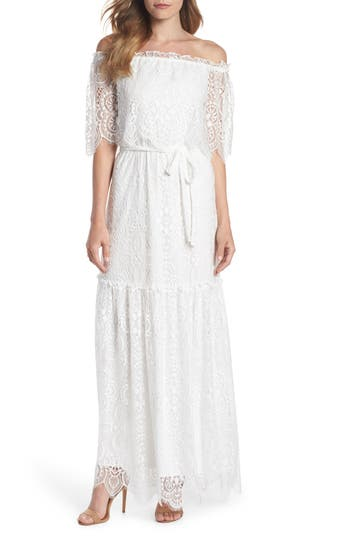 Charles Henry Off The Shoulder Popover Maxi Dress, White