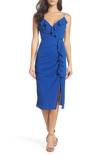 Cooper St Camilla Frill Sheath Dress, Blue