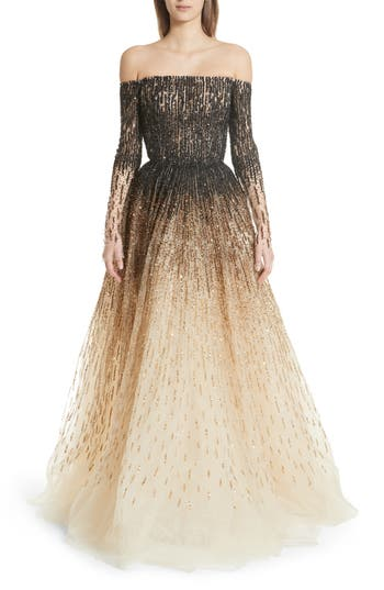 1950s Formal Dresses & Evening Gowns Womens Pamella Roland Sequin Embroidered Ombre Ballgown Size 6 - Metallic $6,995.00 AT vintagedancer.com