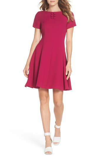 Eliza J Button Yoke Fit & Flare Dress, Pink