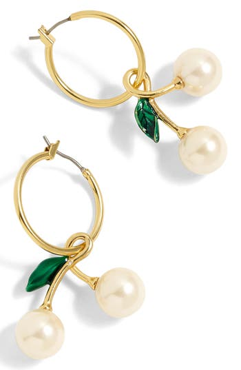 Vintage Style Jewelry, Retro Jewelry Womens J.crew Imitation Pearl Cherry Earrings $24.50 AT vintagedancer.com