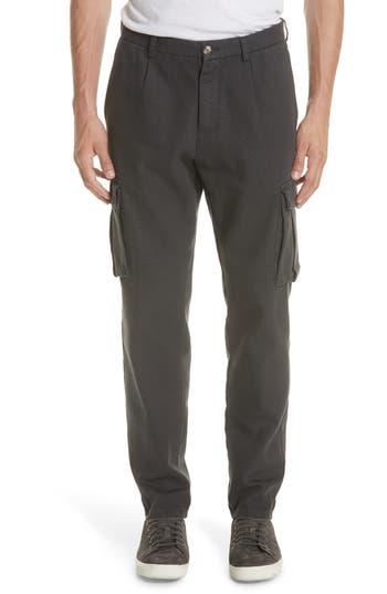 Eleventy Stretch Canvas Cargo Pants, Grey