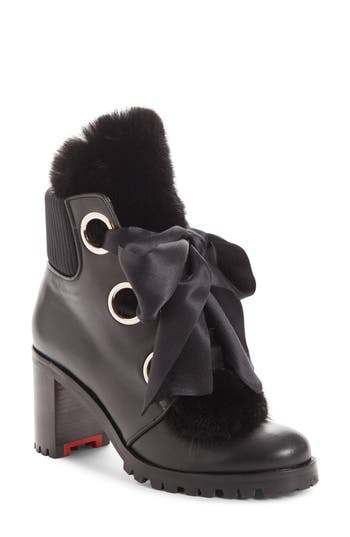 Christian Louboutin Jenny From The Alps Bootie With Genuine Mink Fur Trim, Black