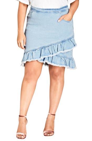 Plus Size City Chic Denim Fling Skirt, Blue