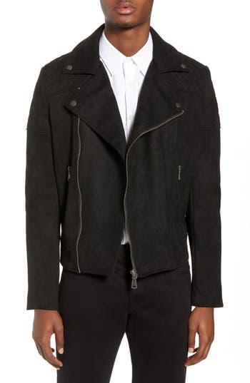 Topman Faux Suede Biker Jacket, Black