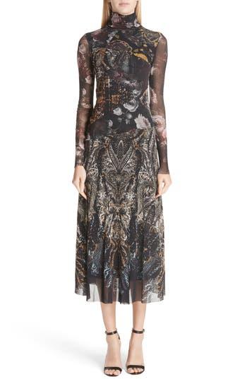 Fuzzi Mixed Print Tulle Turtleneck Dress, Black
