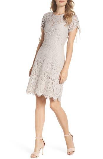 Sam Edelman Ruched Lace Sheath Dress, Beige