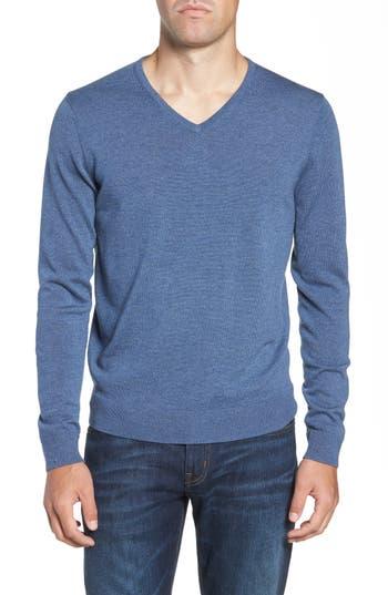 Big & Tall Nordstrom Shop V-Neck Merino Wool Sweater, Blue