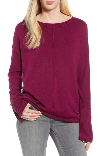Caslon Zip Cuff Sweater, Purple