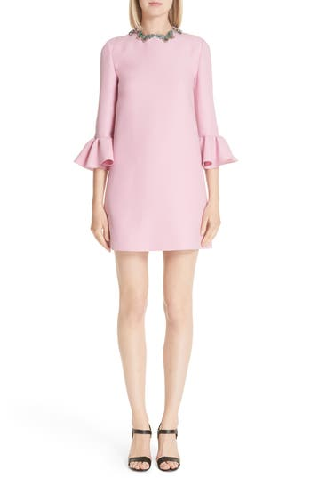 Valentino Embellished Butterfly Neck Wool & Silk Shift Dress, US / 44 IT - Pink