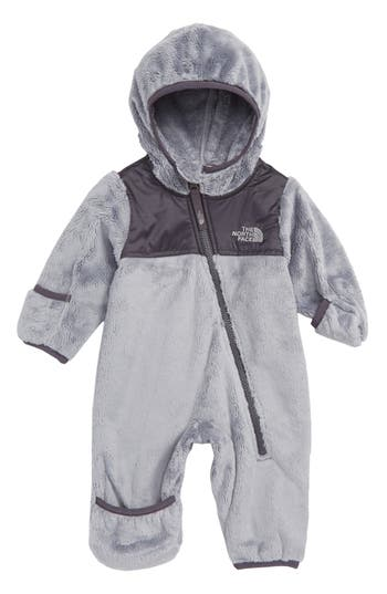 Infant The North Face Oso Hooded Fleece Romper, Grey