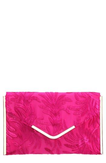Embroidery Envelope Clutch Bag - Pink, Magenta