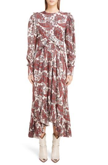 Jorja Paisley-Print Silk-Blend Dress in Red Multi