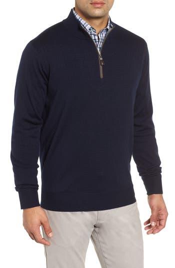 Peter Millar Crown Soft Wool Blend Quarter Zip Sweater, Blue