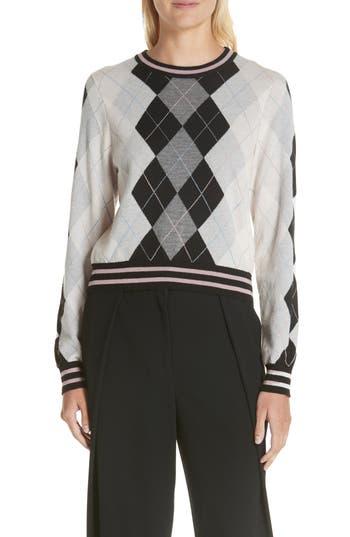 Rag & Bone Dex Argyle Merino Wool Sweater, Grey