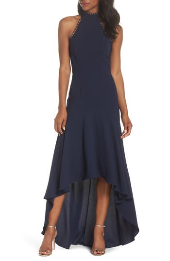 Ml Monique Lhuiller Crepe Halter High/low Gown, Blue