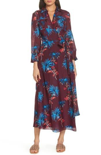 Diane Von Furstenberg Long Cover-Up Wrap Dress, Burgundy