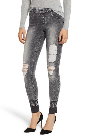 Zeza B By Hue Shredded Denim Leggings, Black