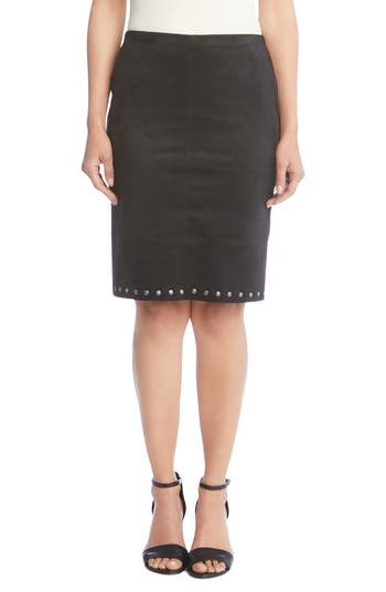 Karen Kane Studded Faux Suede Skirt, Black